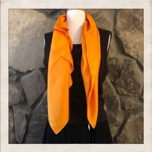 Vintage XL Orange 100% Silk Scarf or Wrap